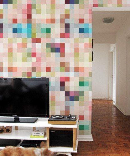 Para los m s jugados y modernos pared pixelada se - Papeles vinilicos para banos ...