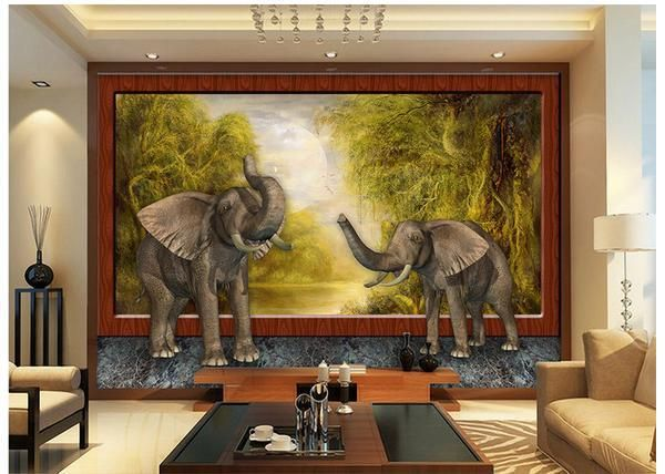 3d wallpaper custom Style 3 d forest elephants background wallpaper