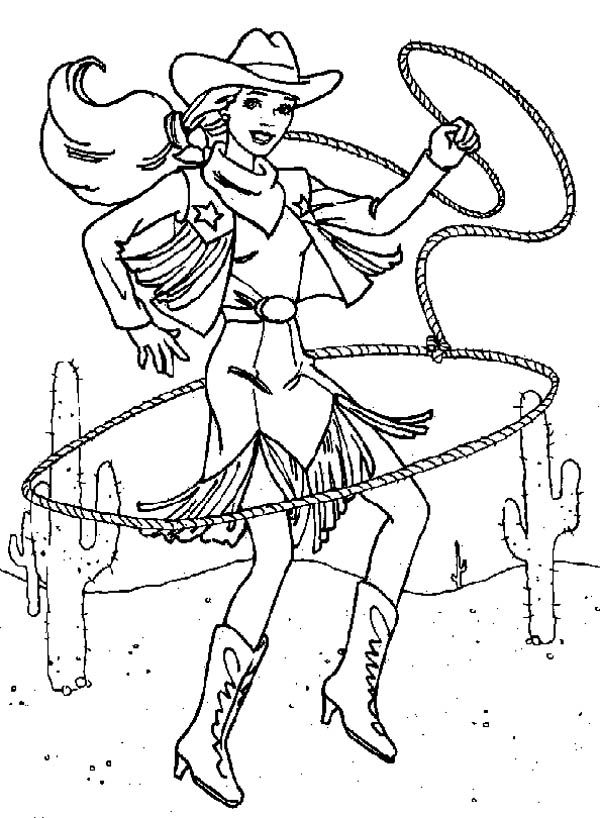 Cowgirl Beautiful Cowgirl With Lasso Coloring Page Coloring Pages Barbie Coloring Pages Barbie Coloring