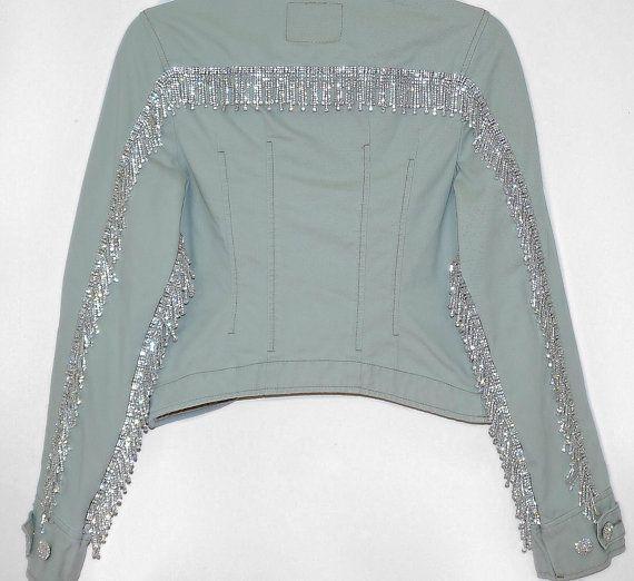 Levis Vintage Denim Crystal Fringe Jacket Womens Custom Jean