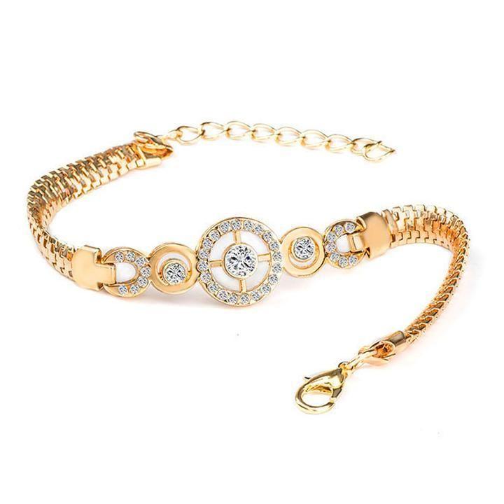 CZ Crystal Silver Gold Bracelet Adjustable Cuff Bangle Women Wedding Jewelry