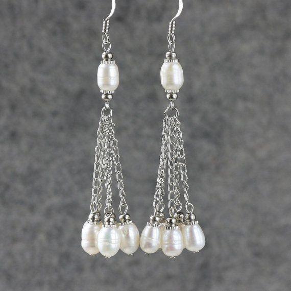 Brown Pearl linear long danling earrings by AnniDesignsllc on Etsy