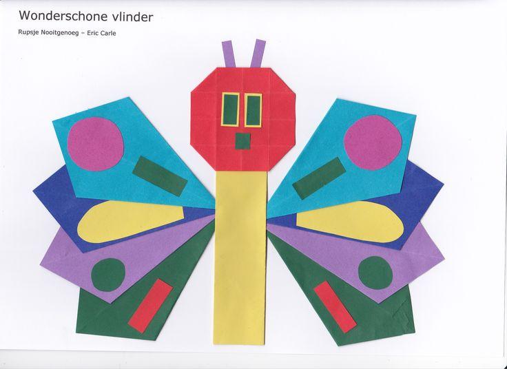 """""""Een wonder schone vlinder""""  Vleugels - vlieger. Lijf - rechte staande vouw www.vouwjuf.nl."""
