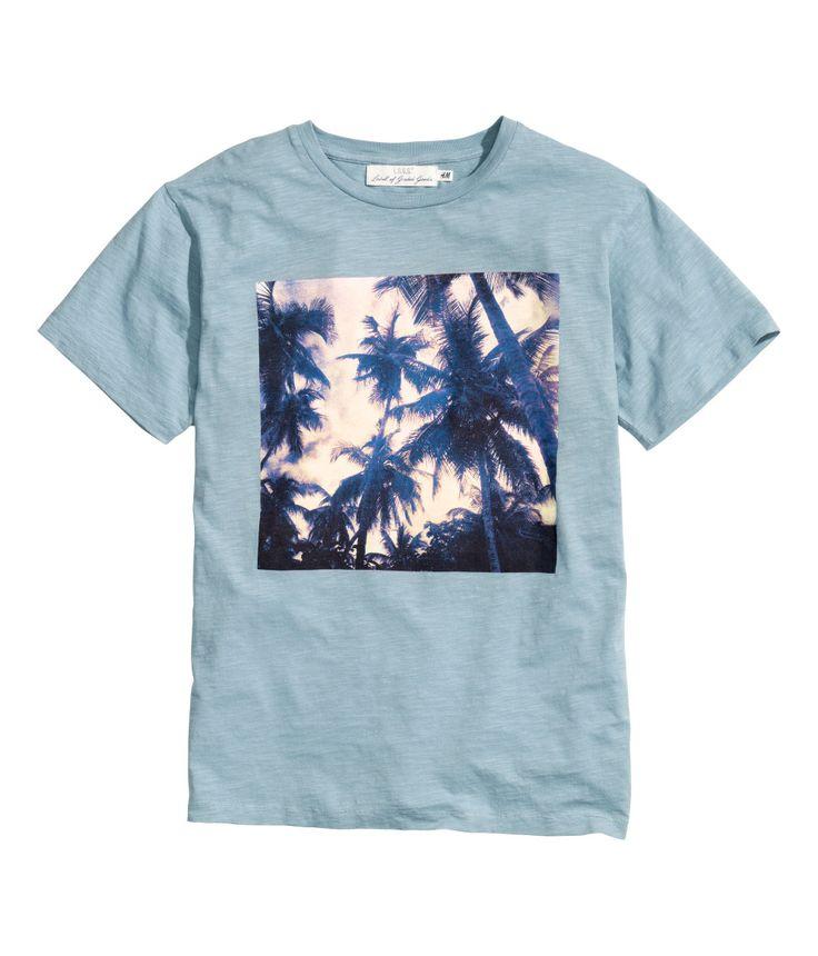 Light Blue T Shirt With Printed Palm Tree Design H M