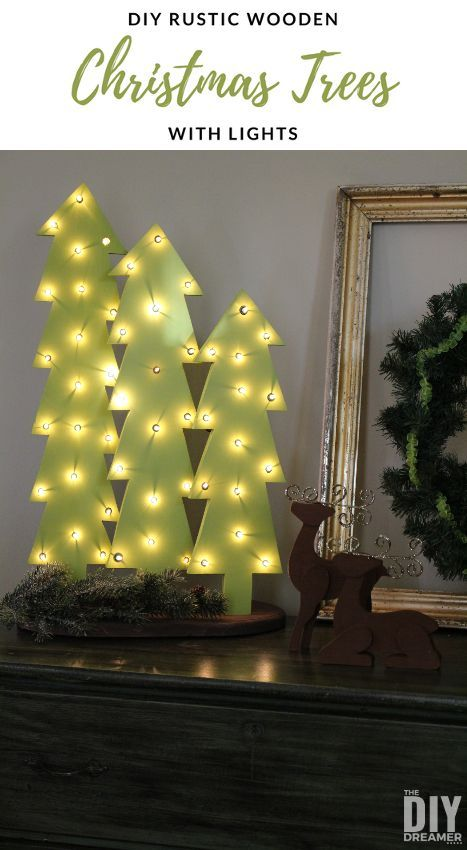 DIY Wooden Christmas Trees with Lights. Perfect for indoor or outdoor Christmas decor! #christmas #RusticChristmas #christmaslights
