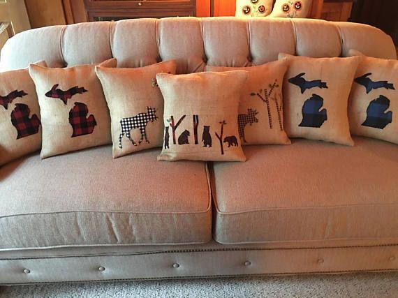 Michigan Burlap Throw Pillow with pillow insert
