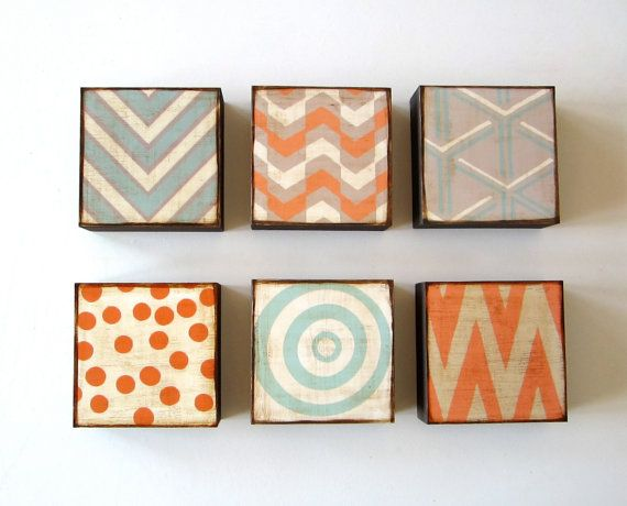 Modern Wall Art l Art Block set l 5x5 l 6 Set Choose your Designs chevron circles Geometric redtilestudio wood