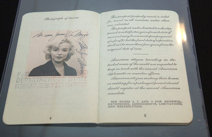 Credit: Brad Barket/Getty Images Marilyn Monroe's passport from 1954