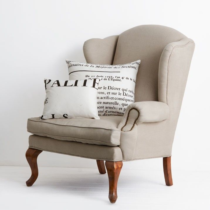 French Linen Wingback Armchair
