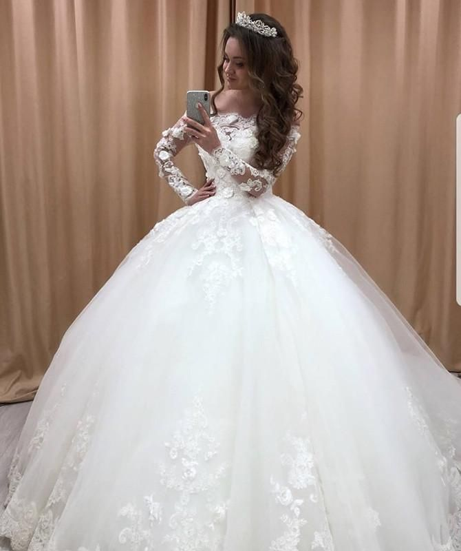 Lace Off The Shoulder Tulle Ball Gowns Wedding Dresses Long