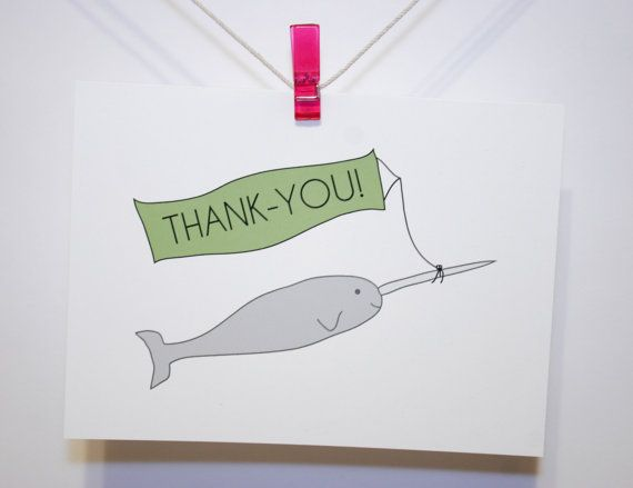 Thank You Card  Narwhal with Banner  Recycled by HiLoveGreetings, $4.75 #thanksgiving #thanks #narwhal #handmade #etsy #card