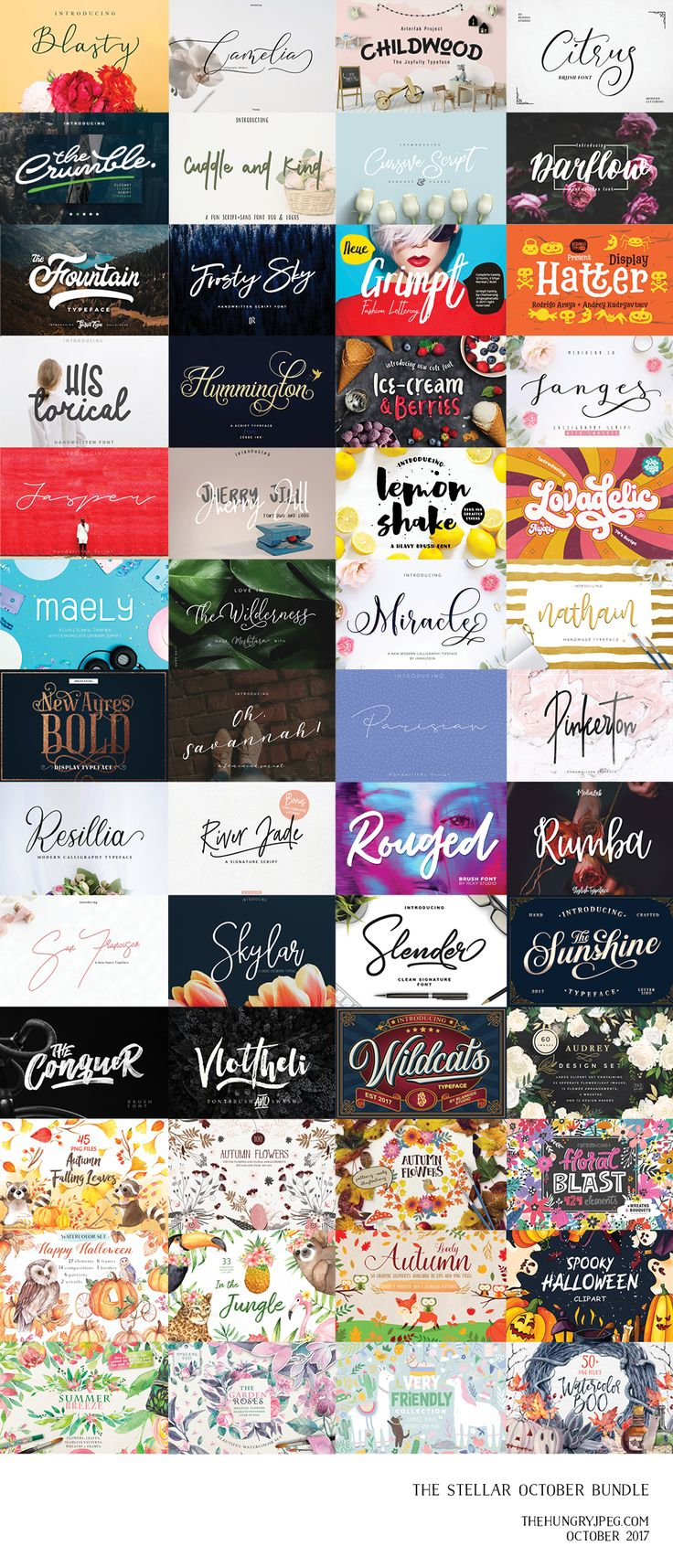 The long wait is now over!! Our latest Stellar October Bundle includes39 premium font families (75 font files) and 13 graphics packs (over 1600 elements & patterns) for you to elevate your toolkit in no time for the most beautiful season! Get this amazing collection for JUST $29 for a limited time only, that's96% OFF the regular price ($783)!! As with all bundles sold on TheHungryJPEG.com, our Complete License comes included, at no extra cost.
