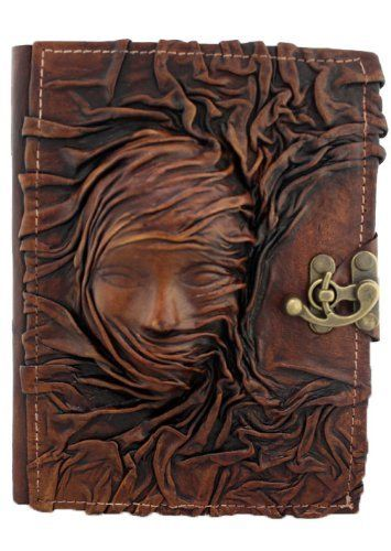3D Scarfed Woman Sculpture on a Brown Handmade Leather Bound Journal
