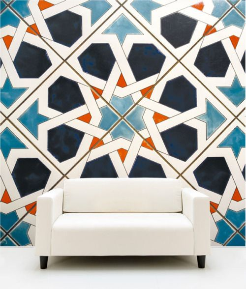 """life1nmotion: """" Pop of color graphic tiles  wallpaper """" In love with the massive tiles"""
