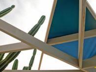 Jamie built this unique, triangular pergola to let the couple's cactus poke through.