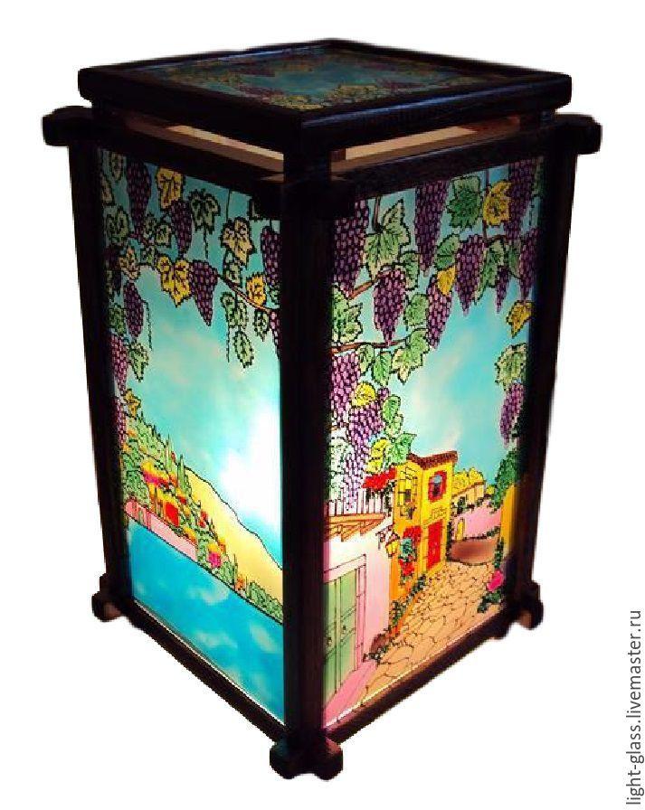Купить Витражный светильник Виноградные мотивы - ночник, светильник, подарок, городской пейзаж, витражный светильник