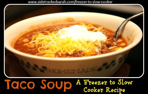 freezer crock pot meals with shopping list. Mexican Casserole, Beef Stroganoff, Chix & Rice Casserole, Taco Soup, Tater Tot Casserole, Chicken Tacos