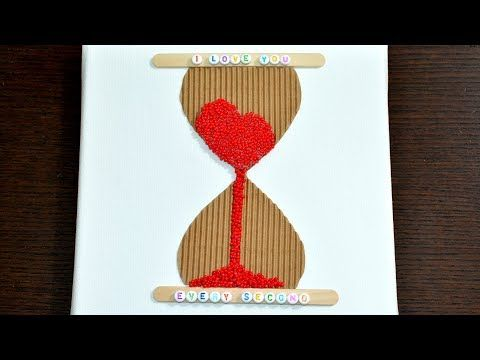 3D Love Time Hourglass Canvas diy art craft how to make it room decor idea tutorial hack gift wall