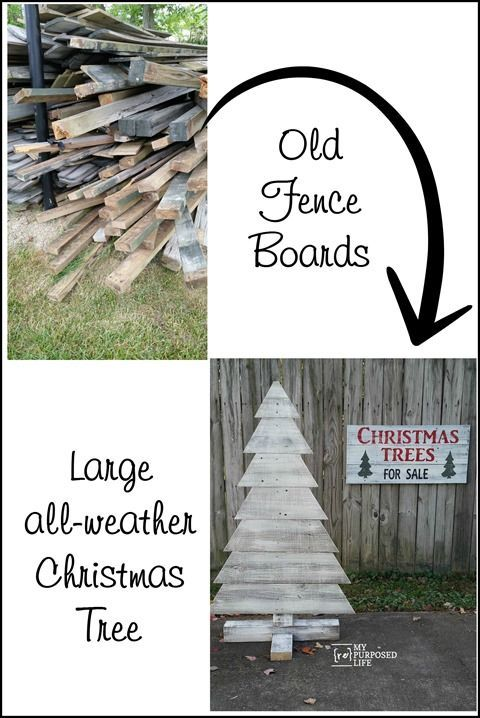 old fence boards into large all weather Christmas tree MyRepurposedLife.com