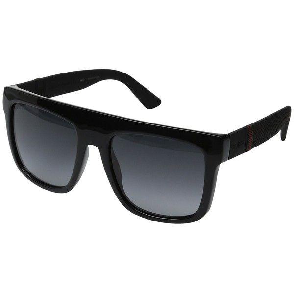 Gucci GG 1116S (Shiny Black) Fashion Sunglasses ($325) ❤ liked on Polyvore featuring men's fashion, men's accessories, men's eyewear, men's sunglasses, gucci mens sunglasses and mens round sunglasses