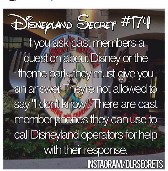 "Disney facts follow for more :) Disney cast members can't say ""I don't know"" when they're asked a question."