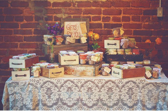 adorable favor display using wood crates