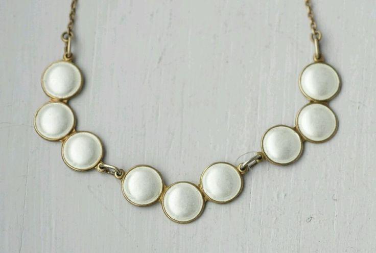O.F Hjortdahl Vintage Norwegian Gilded Sterling Silver and Enamel Necklace