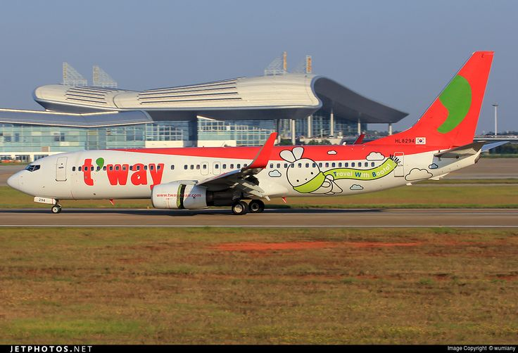 T'Way Airlines (KR) Boeing 737-8Q8 HL8294 aircraft, with the sticker ''Travel With Booto'' on the airframe, skating at China Nanchang Changbei International Airport. 02/10/2015.