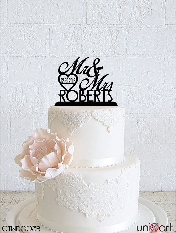 Mr & Mrs Personalized Wedding Cake Topper, Customizable Lastname, Date, Removable Stakes, Free Base for After Event, Gift, Keepsake CTWD003B