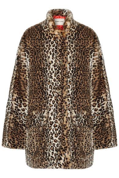 Sandy Liang - Quincy Faux Shearling-trimmed Leopard-print Faux Fur Coat - Dark brown - FR