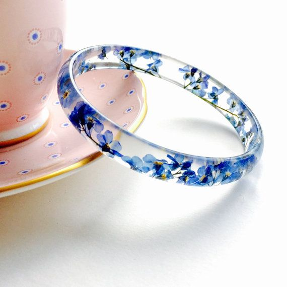 Forget Me Not Flower Resin Stacking Bangle  Flowers Jewellery