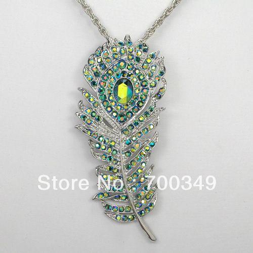 12 piece/lot изумруд AB цвет кристалл горный хрусталь павлин перья ожерелья с подвеской ювелирные изделия F238 M