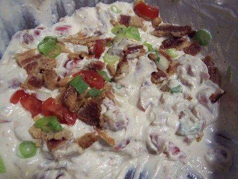 BLT DIP SUPER EASY!  1 C MAYO  1 C SOUR CREAM  ROMA TOMATO  GREEN ONIONS CHOPPED  BACON COOKED AND CRUMBLED  MIX ALL TOGETHER AND CHILL 2 HRS  SERVE WITH FRITOS ENJOY!