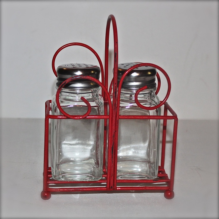 Metal Salt Pepper Holder Bright Red Kitchen Decor Table Accessory Shabby