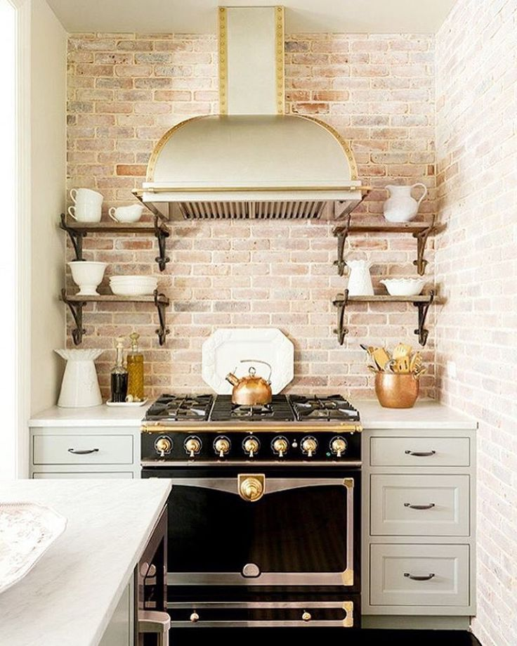 Brick Kitchen Backsplash, Posh La Cornue Range And Hood. U201cOpen Shelves Are  Extremely Functional And Make It So Much Easier To Access Dishes And  Glasses.