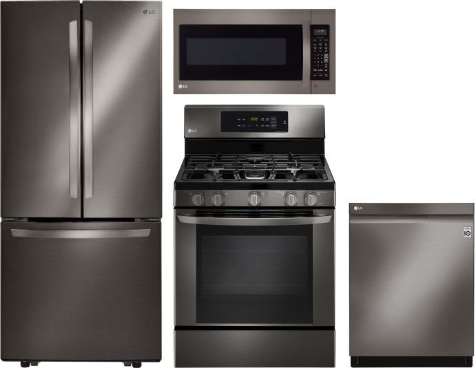 LG 4 Piece Kitchen Appliances Package with French Door ...