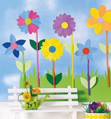Paper flower with drinking straw stem - easy spring window decor // Papír virágok szívószál szárral - tavaszi ablakdekoráció papírból // Mindy - craft tutorial collection