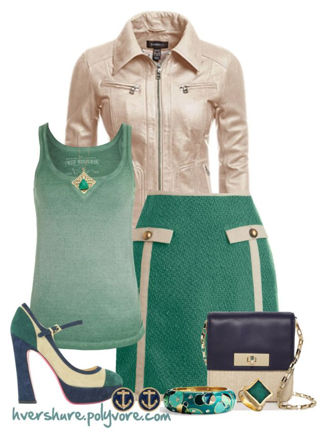 """""""Green Skirt Outfit"""" by hvershure ❤ liked on Polyvore featuring Danier, Knitted Dove, True Religion, Kate Spade, Luciano Padovan, Sequin and Robyn Rhodes"""