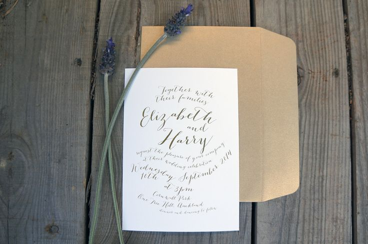 Wedding Invitations - Garden No. 1. Elegant typographic design, single colour, ribbon and swing tag detail. Vintage Wedding invitations