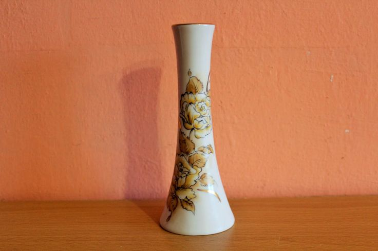 Vintage Vase Iris Fine Porcelain Cluj Napoc Romania Gold Flowers Floral Pottery Ceramic Balkan Bud Vase by Grandchildattic on Etsy