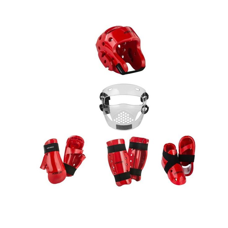 Century Karate Sparring Gear Combo Set with Shin Guards and Face shield. Century 8 piece set  Everything you need to get you started. Can be use for sport karate, American Taekwondo, kempo, Kung Fu and many other arts. weapons Set includes  kicks gloves head guard face shield Shin guards colors red,blue red or white.  Note... White kicks are not available in size 13-14  The chart provided is as a courtesy. It cannot account for all body types. Please check with your instructor before…