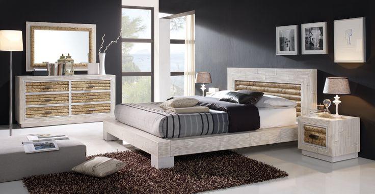 dormitorio de bambú modelo bela,combinación de color blanco con bambú natural