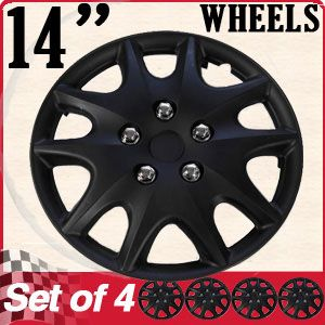 "1 4 Inch Black Hubcaps | PC SET HUB Caps ABS Black 14"" Inch RIM Wheel Skin Hubcaps Cover ..."