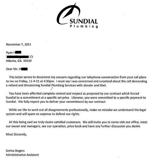 Do Not Hire Sundial Plumbing in Atlanta, Georgia: Here is my experience with this very shady company...