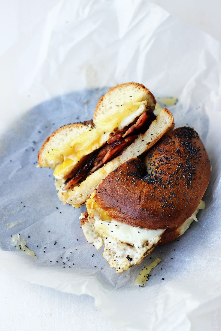 Bacon Egg and Cheese Bagels | The Sugar Hit.  Probably my favorite breakfast sandwich ever.