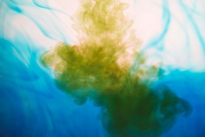 Abstract Blue Yellow Liquid Paint Mix In Water #close #mixing #art #background #movement #white #dye #water #gouache #design #liquid #isolated #dynamic #flow #yellow #bubbles #color #bright #cloud #flowing #shape #texture #splash #colored #watercolor