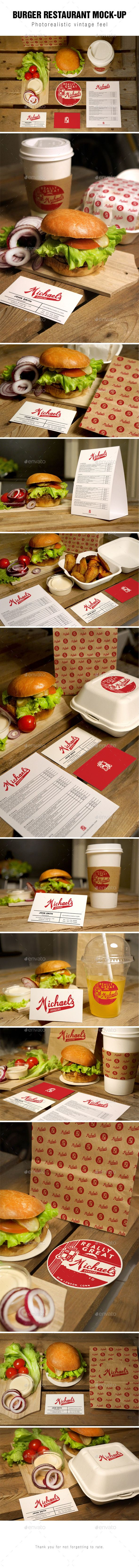 Burger Restaurant Mockup | #fastfoodmockup #burgermockup | Buy and Download: http://graphicriver.net/item/burger-restaurant-mockup/10012544?ref=ksioks