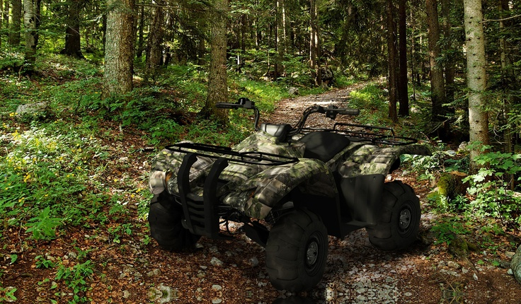 ATV covered with Total Camo's X-Forest self-adhesive camouflage.