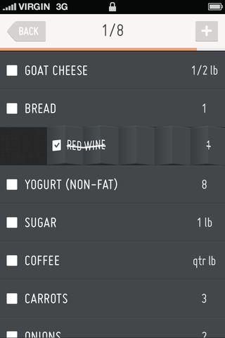 식료품 목록 앱의 개념