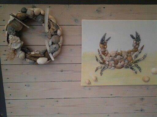 schilderij van schelpen, krab